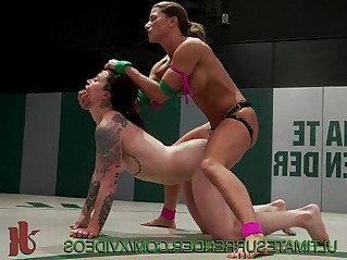 Female wrestling and a strapon