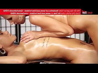 Caro and nickynasty hot lesbian dildo oil massage