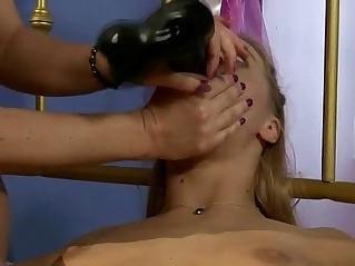 Lezdom mistress dildofucks subs ass