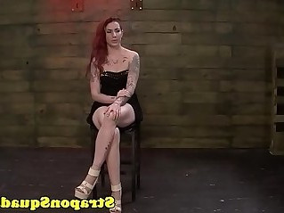 Strapon slut with toys in trio
