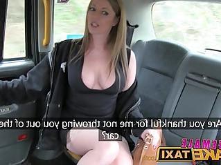 Female Fake Taxi Big tits gets lesbian tribbing and masturbation
