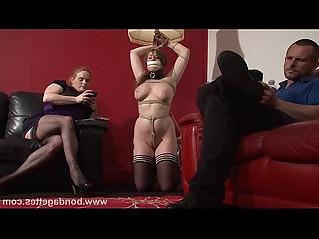 Lesbian livingroom bondage of cute gagged damsel in distress Taylor Heart in rop
