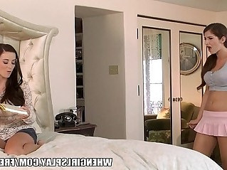 Karina whie catches her sister reading her diary and spanks her