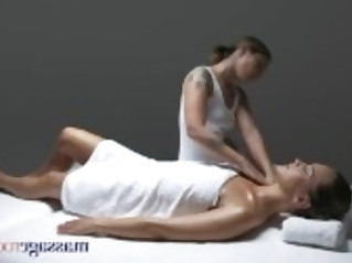 Massage Rooms Gorgeous tanned flexible lesbians make each other cum