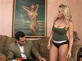 Busty blonde MILF takes it in her tight pussy