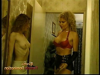 Tall blonde dominatrix has some kinky with two sexy harlots
