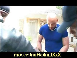 Outdoor interracial hardcore gangbang